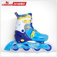 美洲獅兒童全閃輪滑鞋 初學者全套裝可調溜冰鞋直排輪旱冰鞋男女