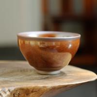 隐庐 曁国安出品 束口柿红柴烧建盏茶杯