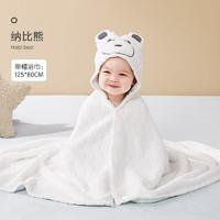 可优比(KUB) 婴儿浴巾超柔戴帽浴巾-那比熊80*125 *2件