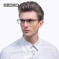 SEIKO精工眼镜 男士商务钛眼镜框 经典全框潮流大脸近视眼镜架HC1009 193黑色 *3件
