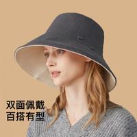 女帽子双面渔夫帽女款防晒遮阳帽户外简约帽子女