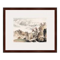 水墨画《祁连山麓》关山月 背景墙装饰画挂画 茶褐色 56×67cm