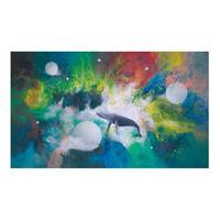 王唐糖《静水流年》艺术版画 抽象梦幻 装饰画 金色框 50*65cm