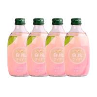 日本进口 友傑(jie)碳酸饮料白桃味果味汽水 300ml*4瓶装 *2件