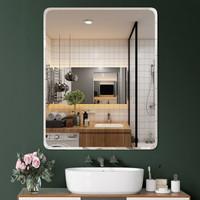 流顏 浴室鏡子免打孔鏡子貼墻無框洗手間衛浴鏡穿衣鏡衛生間鏡壁掛化妝鏡子 直角30*42(粘膠+免釘膠) *3件