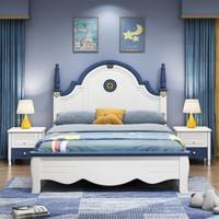 箐銳 實木床美式鄉村1.5米床青少年1.2米單人床1.35米實木床1.8米雙人床臥室儲物公主床