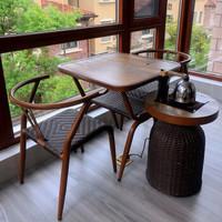 紫叶(ziye)阳台茶桌小茶几藤椅三件套室内休闲喝茶桌椅组合庭院桌椅 2