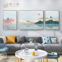 智工匠 客廳裝飾畫北歐輕奢沙發背景墻三聯畫現代簡約風景壁畫(PS框+布面畫)