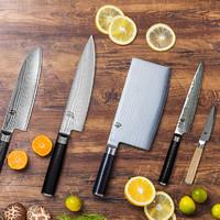 日本贝印旬刀大马士革钢多功能主厨刀家用菜刀锋利厨房刀具套装