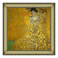 现代简约克里姆特名人人物油画《布洛赫·包尔太太》宫廷金