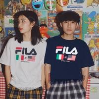 FILA 斐乐 LM913786 情侣款印花T恤