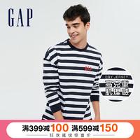 Gap男女装纯棉长袖T恤春季新款时尚情侣款休闲上衣