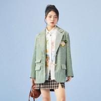 樂町玩趣貼標西裝2021春季新款韓版ins風寬松上衣