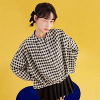樂町印花格紋外套2021春季新款炸街襯衫式短外套女寬松