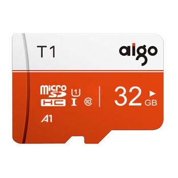 爱国者(aigo)32GB TF(MicroSD)存储卡 U1 C10 A1 T1高速版内存卡 适用手机数码行车记录仪