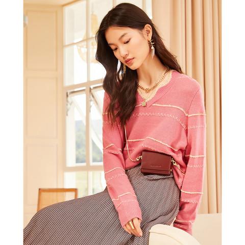 女装2020冬季新款时尚线条装饰亮丝羊毛针织衫套头