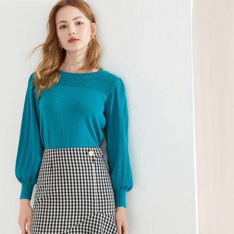 YINER音儿女装2020秋季新款纯色时尚亮丝长袖针织衫套头