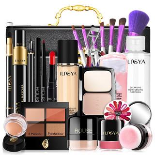 ILISYA 厘雅 LISYA柔组合美妆淡妆化妆包生日礼物 清透自然妆+黑色化妆箱(节日礼盒套装)