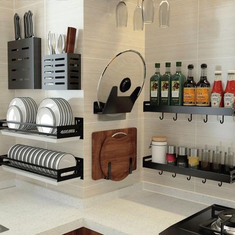 蓝藤厨房置物架免打孔壁挂式家用调味料收纳锅盖架刀架挂架储物架