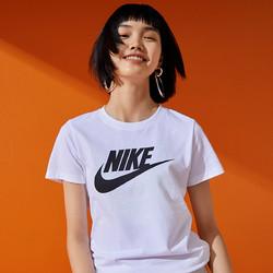 NIKE新款女子休闲运动百搭小白短袖T恤大LOGO新款