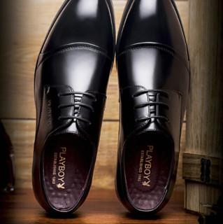 PLAYBOY 花花公子 男子牛皮商务鞋 7CW089003D 黑色 39