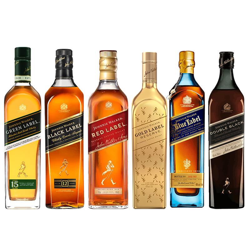 JOHNNIE WALKER 尊尼获加 威士忌组合装 40%vol 4.35L(蓝+醇黑+黑+金+红+绿)