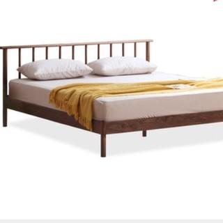 VISAWOOD 维莎原木 奈良系列 N0469 实木床 1800mm*2000mm 胡桃色