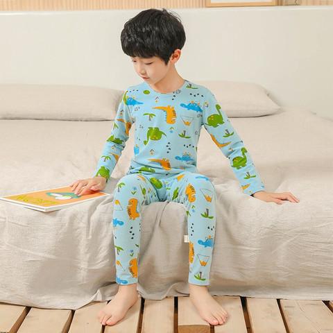 儿童秋衣秋裤莱卡棉宝宝保暖内衣套装男女童纯棉睡衣家居服两件套 蓝色恐龙 120cm