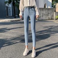 2021春季新款百搭牛仔裤女高腰显瘦紧身弹力九分铅笔裤小脚裤子