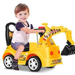 儿童电动挖掘机可坐可骑人大号小孩挖土机儿童挖挖机玩具车宝宝工程车遥控模型2-5岁男女 标配滑行款