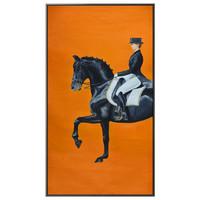 海龙红 装饰画美式走廊过道马大竖版骑士北欧轻奢软装黄橙色墙画