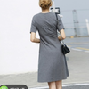 AMII 121600160713 女士纯色通勤显瘦圆领连衣裙