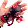 力彩 米妮卡通钥匙扣 黑红铃 黑红绳