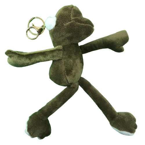 力彩 毛绒长腿蛙钥匙扣 金扣