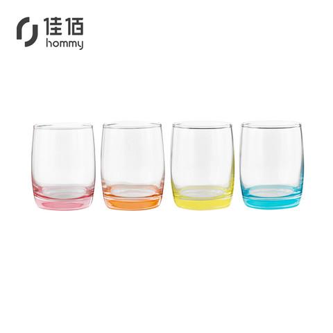 佳佰 彩色玻璃杯4个装 玻璃杯水杯 杯子茶杯 创意家用 果汁饮料杯早餐牛奶杯