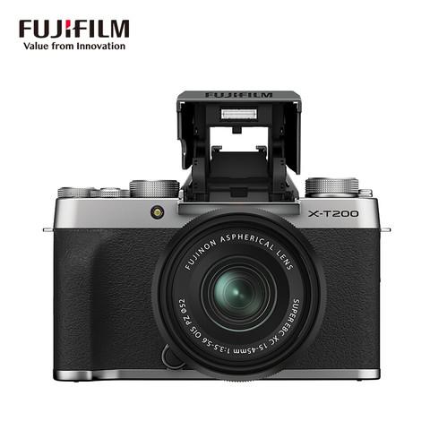 富士(FUJIFILM)X-T200/XT200 微单相机 套机(15-45mm镜头 ) 2420万像素 视频强化 翻折触摸屏 4K  银色