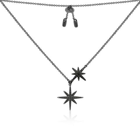 apm MONACO AC3351BZT 女士黑色纯银镶晶钻双流星项链