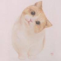 buybuyART 买买艺术 何晓蕾《一起歪脖》版画 油画 黑色框 画框尺寸 40x30cm