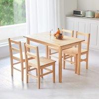 8H SC2 实木餐桌餐椅套装 一桌四椅 松木色