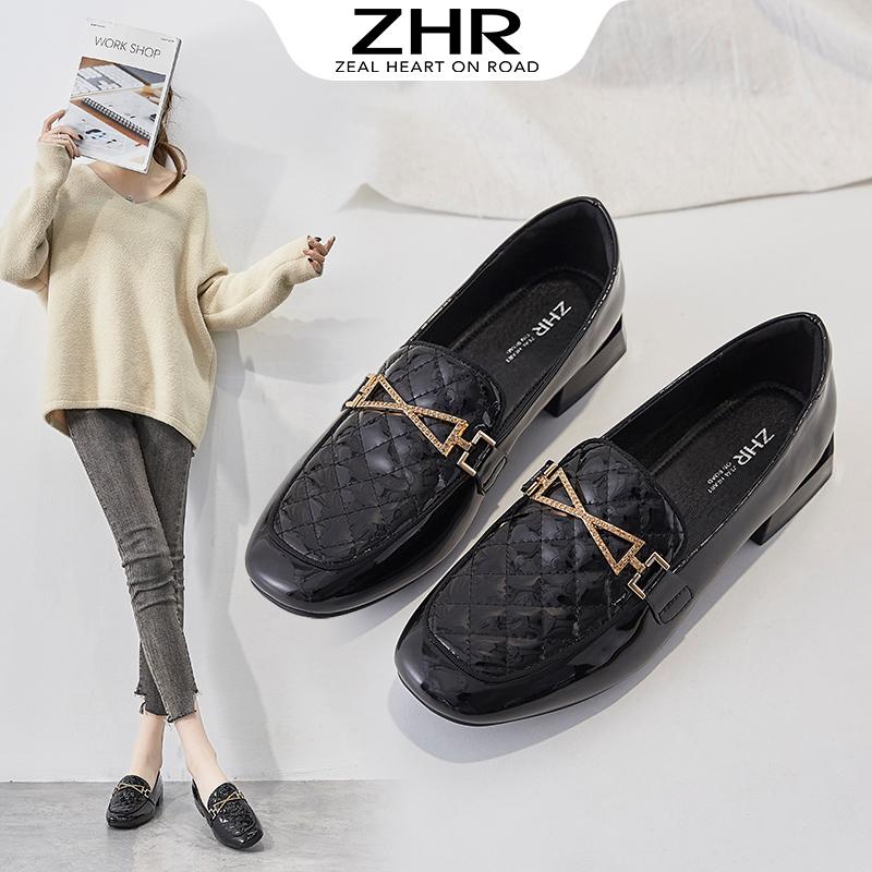 ZHR2021春季新款单鞋女豆豆鞋一脚蹬懒人乐福鞋软底休闲平底女鞋