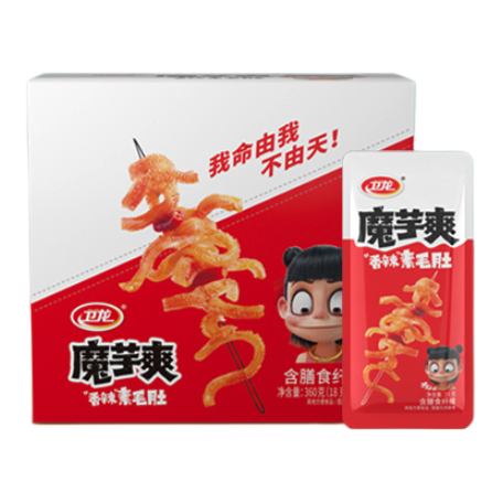 WeiLong 卫龙 魔芋爽 辣条 休闲零食 办公室零食 香辣素毛肚180g/袋约12小包 即食小吃