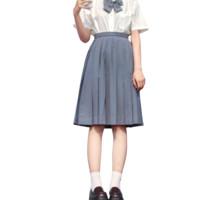 櫻花家族 JK制服 女士百褶裙 灰藍色 XS