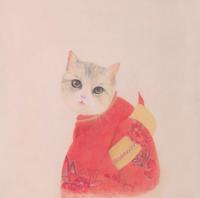buybuyART 买买艺术 何晓蕾《和风猫》版画 油画 客厅装饰画 画框尺寸40*30cm
