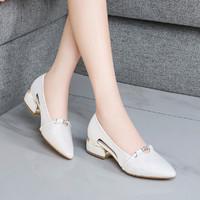 高跟鞋女气质粗跟鞋子中跟浅口女士单鞋英伦风小皮鞋春季新款女鞋