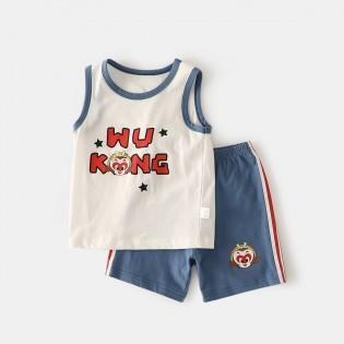 YUZHAOLIN 俞兆林 唯品首发悟空男童背心套装100%纯棉吸汗夏婴幼儿套装婴儿衣服