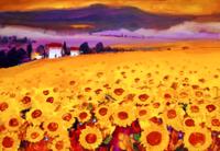 法国让·米歇尔限量版画《风中的向日葵》 无框 装饰画