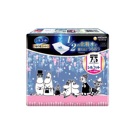 PLUS会员:unicharm 尤妮佳  1/2省水保湿化妆棉 姆明限定款 40片