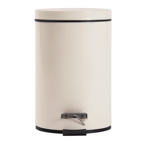 欧润哲 垃圾桶 迷你3L脚踏 有盖翻盖卫生间卧室桌面家用垃圾篓 内外双桶带盖 小号米白色