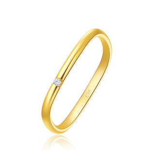 CHOW TAI FOOK 周大福 17916系列 CE63534 方形22K金钻石戒指