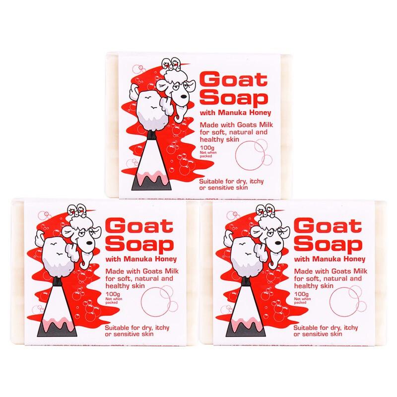 Goat Soap 山羊奶 3件装 Goat Soap 山羊奶皂/敏感肌儿童100g 蜂蜜味手工皂
